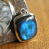Indian Labradorite rectangular Silver Jewelry Pendant