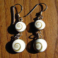 Earrings with 2 Shiva Shells - 925 Silver Jewelry