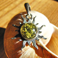 Small Silver Jewelry Pendant - Sun with Amber green