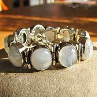 "Moonstone Bracelet Jewelry made of 925 sterling silver ""Goa / 17-10"""