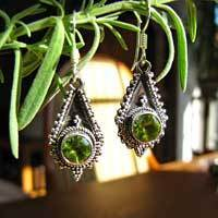 Indian Earrings with Peridot Premium 925 Silver Jewelry