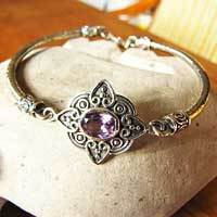 Indian Silver Bracelet Jewelry with Amethyst - 'Goa/17-15'