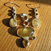 Rutilated Quartz and Citrine - Indian Premium Jewelry Set