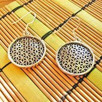 Indian Earrings Jewelry 925 Silver 'Flower of Life' 17-5