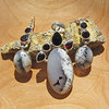 Dendritic Opal with Garnet - Premium Silver Jewelry Set