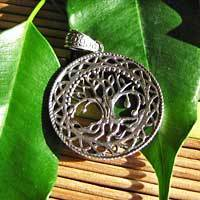 Indian Silver Pendant Jewelry - Tree of Life Symbol 17-1