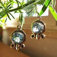 Indian Silver Jewelry Earrings with Blue Topaz  17-1
