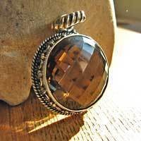 Indian silver pendant with round smokey quartz 17-2