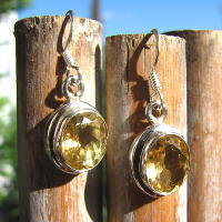 Indian 925 Silver Earrings Jewelry with Citrine - 17-1