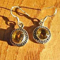 Indian Silver Earrings Jewelry with Citrine round shape - 17-2