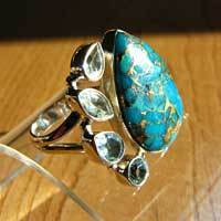 Magnificent Ring Sea Jasper with Blue Topaz in 925 Silver 17-2-1