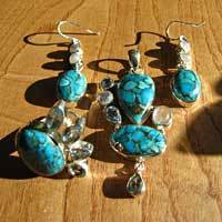 Sea Jasper - elegant Premium Silver Jewelry Set with Ring