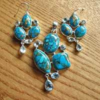 Sea Jasper pendant and earrings - Premium Silver Jewelry 17-8