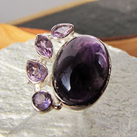 Indian Ring with Amethyst - Premium 925 Sterling Silver Jewelry