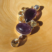 Exquisite Indian Silver Pendant - Amethyst with Citrine