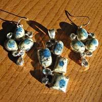 K2 Granite Azurite with Blue Topaz - Premium ilver Jewelry Set