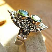 Indian 925 Silver Rings Ethnic Style - 2 Peridot nicely ornated