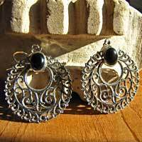 Indian Earrings Jewelry Onyx - in decorative Silver Braid /17-1