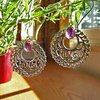 Indian Earrings Jewelry Amethyst decorative Silver Braid /17-1