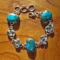 Sea Jasper with Blue Topaz - magnificent Silver Bracelet