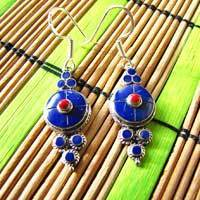 Indian Earrings with Lapis Lazuli Silver Ethnic Jewelry 17-2