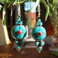 Indian Earrings with Turquoise - Silver Ethnic Jewelry 17-3