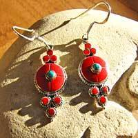 Indian Ethnic Earrings Jewelry  - Red Coral in Silver