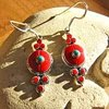 Indian Earrings with Red Coral - Silver Ethnic Jewelry 17-4
