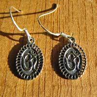 Finely decorated Earrings OM Symbol  - Indian Silver Jewelry