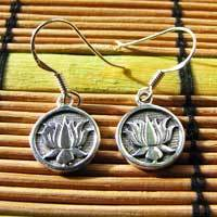 Indian Ethnic Earrings 925 Silver with Lotus Flower 17-2