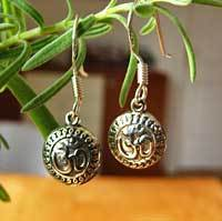 OM Sign Earrings - Indian 925 Silver Jewelry OM Symbol