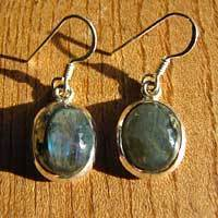 Indian Labradorite Earrings - noble Design 925 Silver