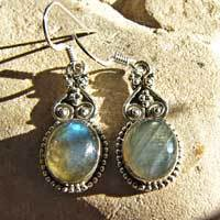 Indian Labradorite Earrings ornated - Ethnic Silver Jewelry
