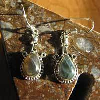 Delicate Labradorite Earrings - Ethnic Indian Silver Jewelry