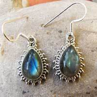 Indian 925 Silver Earrings Jewelry with Labradorite