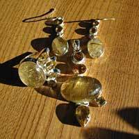 Rutilated Quartz and Citrine Premium Jewelry Set with Ring