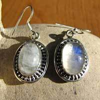 Indian Moonstone Earrings ornate Silver decoration 17-1