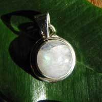 Indian Silver Jewelry Pendant with round Moonstone  17-4
