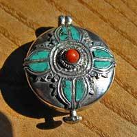 Silver pendant amulet jewelry in ethnic style Turquoise Coral