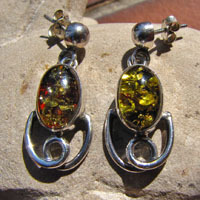 925 Sterling Silver Earrings with amber 17-1