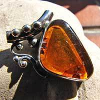 925 Sterling Silver pendant jewelry with amber 17-2