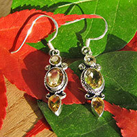 Earrings with Citrine - Indian Silver Jewelry