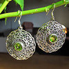 Indian Earrings Jewelry with Peridot in floral Silver disc