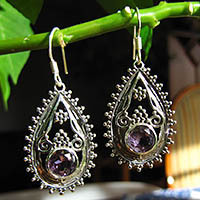Indian Amethyst Earrings - floral 925 Silver ornament