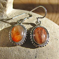Indian Jewelry Earrings Silver Border Sunstone/18-1