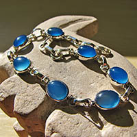 Indian Silver Bracelet Jewelry with Chalcedony dark blue 18-2