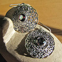 Indian Earrings Jewelry Mystic Topaz in floral Silver disc