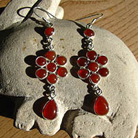 Enchanting Carnelian Earrings 'Flower shape' 925 Silver