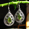 Indian Peridot Earrings Jewelry - Floral 925 Silver braid