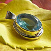 Indian Blue Topaz Pendant - 925 Silver Jewelry